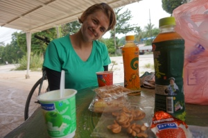 Our last breakfast in Thailand was yogurt, peanuts, and a pastry on the side of the road- in honor of Ramadan.