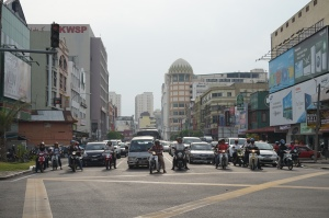 Looking down the wrong way of a one way street in Kota Bharu.