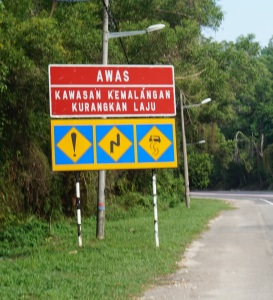 An incredibly confusing sign we saw daily in Malaysia. Still not totally sure what it's warning us about..