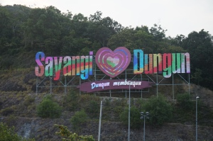 This bright sign welcoming us to Dungun was about the most exciting thing we saw in that town the whole night.