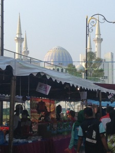 The massive nightly Ramadan bazaar right below this majestic mosque in Kuantan.