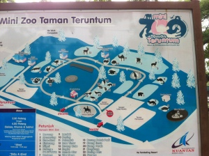The map of the Kuantan mini zoo.